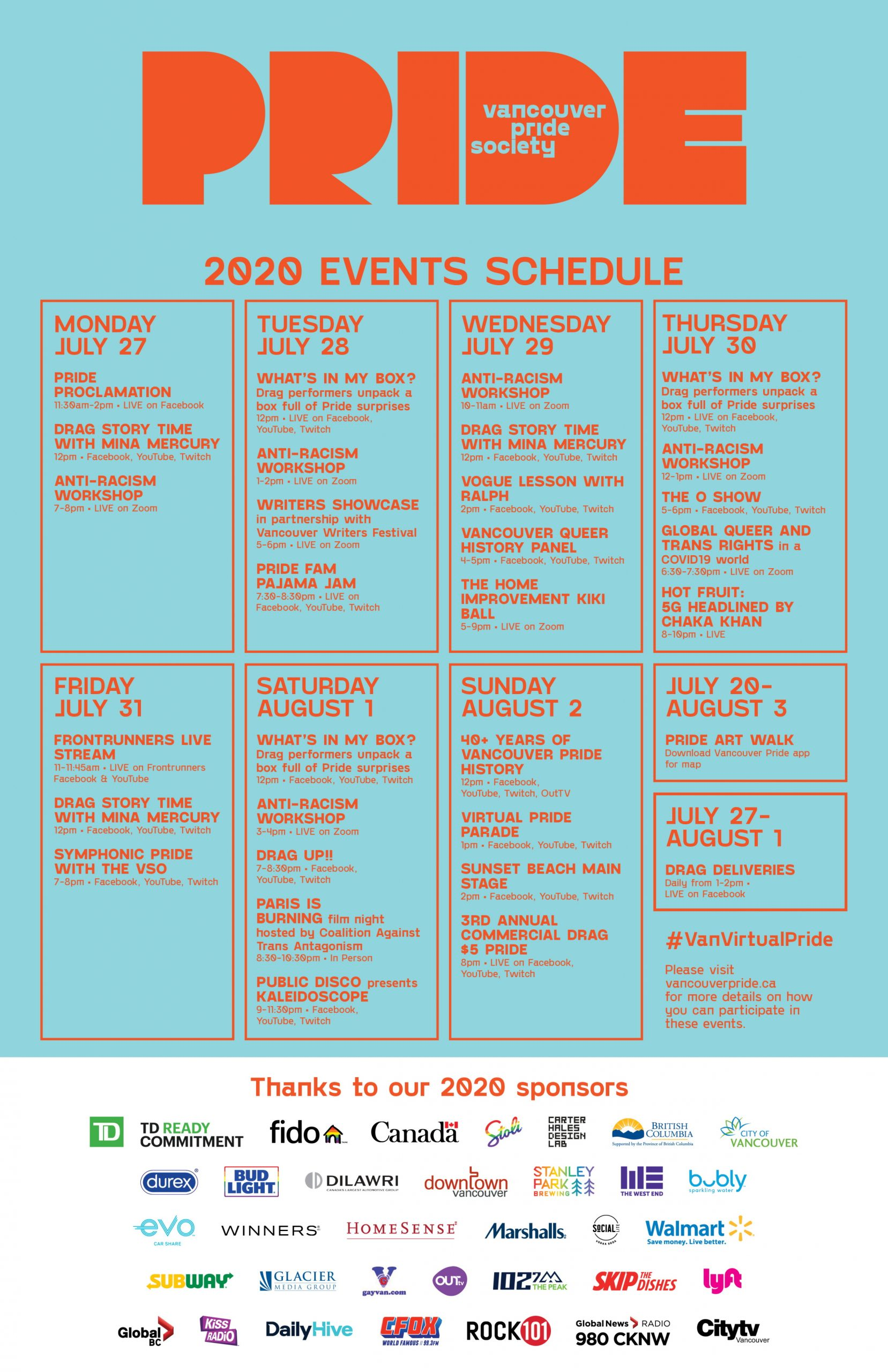 An Event Schedule graphic containing dates and times for Van Pride 2020 events. All event details listed on this page.