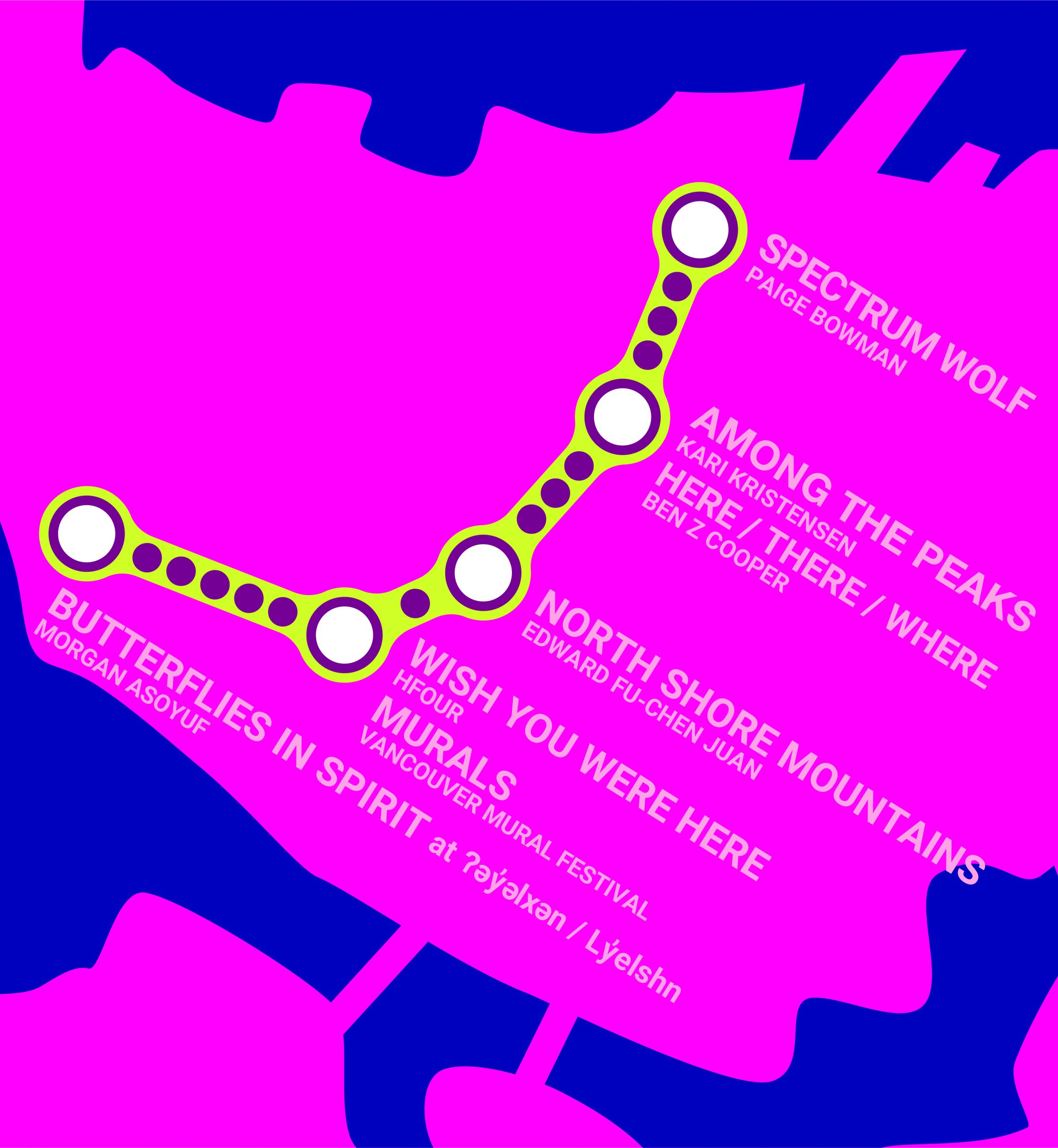 """Shows a stylized map of the Vancouver Art Walk, The map is a rough outline of Downtown Vancouver in Bright Pink with locations tagged with white circles with purple boarders inside a yellow trail. Text reads """"Spectrum Wolf, Paige Bowman; Among The Peaks, Kari Kristensen; Here/There/Where, Ben Z Cooper; North Shore Mountains, Edward Fu-Chen Juan; Wish You Were Here, Hfour; Murals, Vancouver Mural Festival; Butterflies in Spirit at ʔ y lx n / Lyelshn,"""