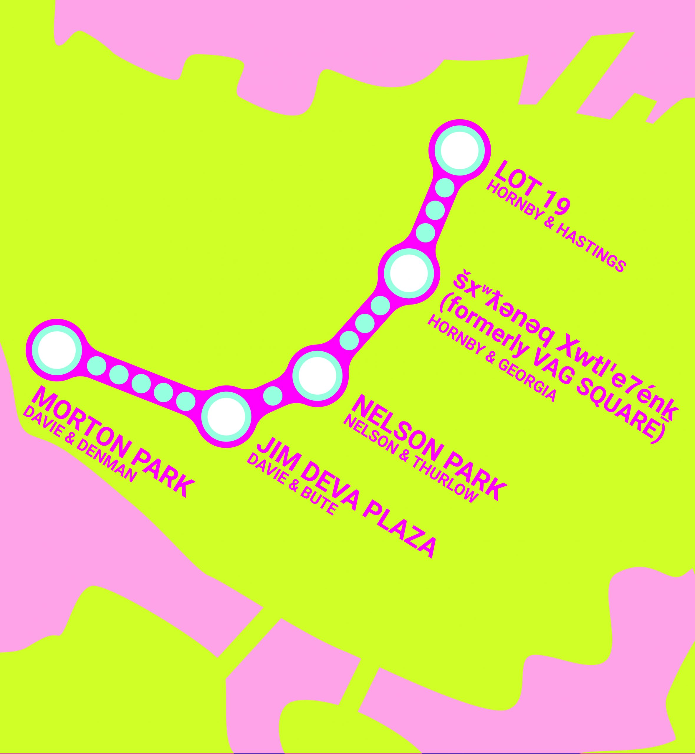 """Stylized map depicting Vancouver in Yellow. Locations of Pride Art Walk stops shown in Pink near white bubbles with blue borders - a pink outline traces the route. Text reads: """"Lot 19, Hornby & Hastings; šxʷƛ̓ənəq Xwtl'e7énk Square (Formerly VAG square), Hornby & Georgia; Nelson Park, Nelson&Thurlow;Jim Deva Plaza, Davie&Bute; Morton Park, Davie&Denman"""