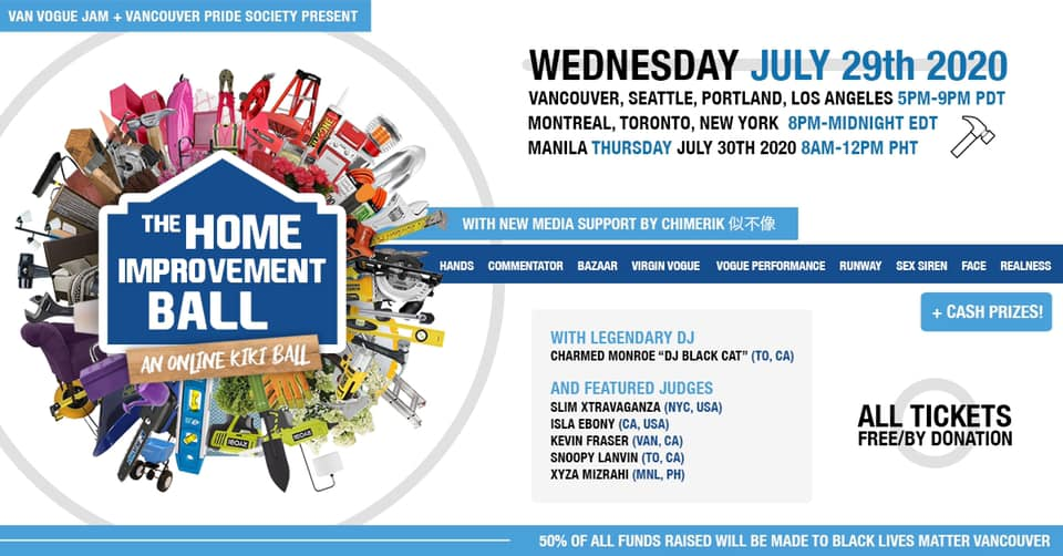 "Event banner shows ""The Home Improvement Ball"" information - Wednesday July 29, 2020"