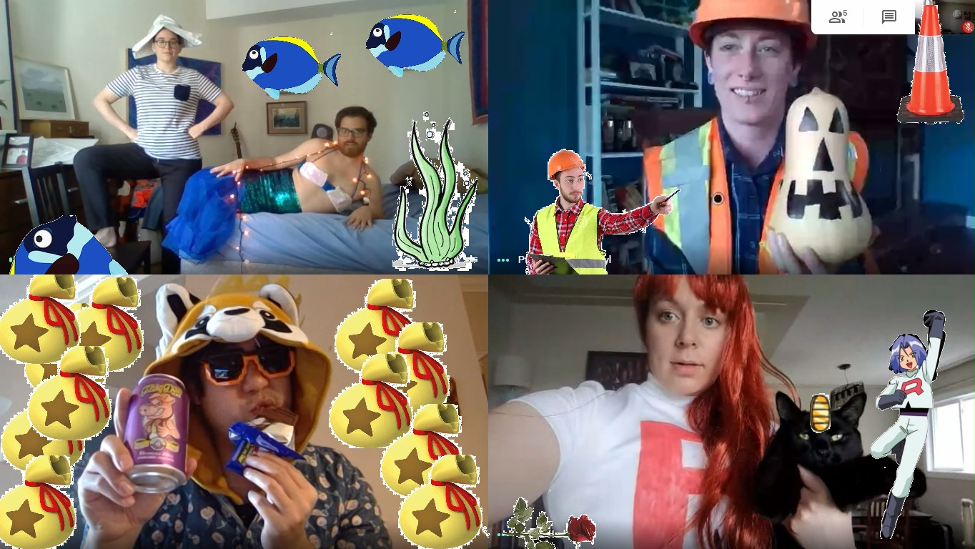 The image is split into four sections showing 5 team members wearing different Halloween costumes. The costumes include, a mermaid and sailor, a construction worker, an Animal Crossing Character, and one of the Team Rocket members from Pokemon.