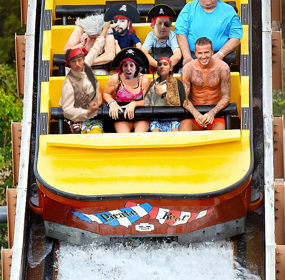 The image is of a water rollercoaster at a theme park. The seats are filled with David Beckham and his family, with phptoshopped faces over some of the family members. The people who are photoshopped in are dressed up as pirates and are making silly faces.