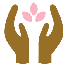 Two hands are holding up a pink flower.