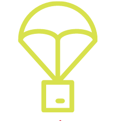 The Yellow outline of a parachute carrying a box.