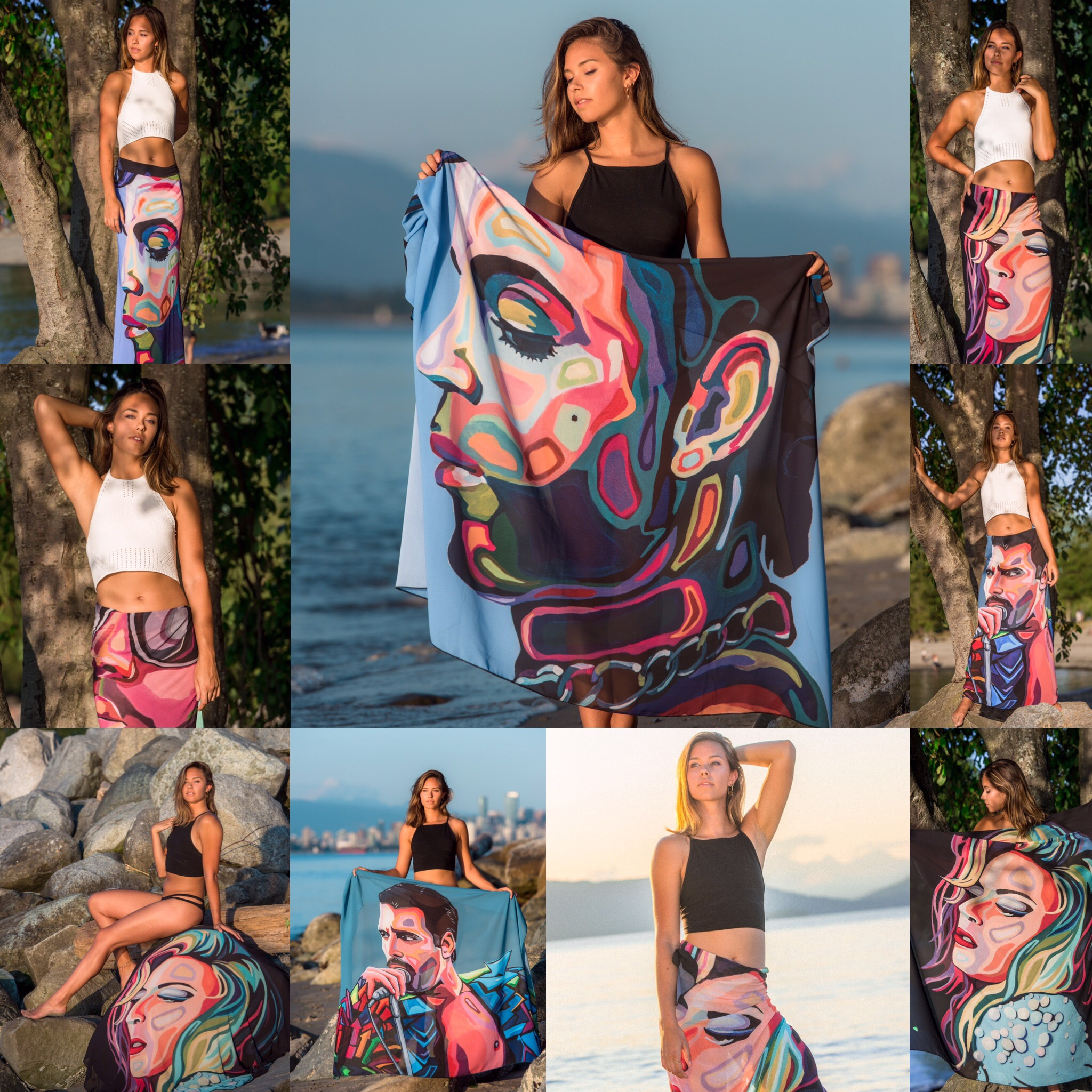 A collage of images showing multiple uses for a large piece of fabric. The fabric has an image of a queer celebrity on it, and can be used as a skirt or blanket.