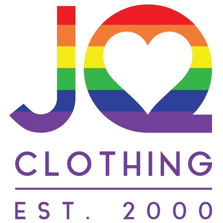 "JQ is written in rainbow text in large font. The inside of the ""Q"" is shaped like a heart. The words ""clothing EST. 2000"" are underneath in purple letters. The background is white."