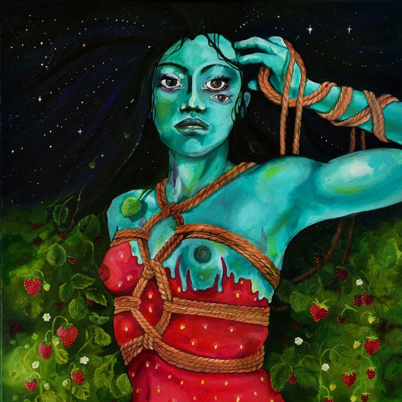 A painting of a humanoid with long black hair and blue skin. The person is staring straight ahead with three eyes, and has their hand brushing their bangs to the side. They have ropes ties around their wrist and upper body like a harness. They are wearinf a red dress which is ripped, revealing one breast.