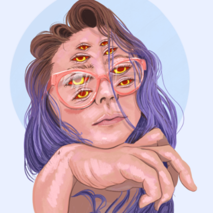 An artistic depiction of a person with purple hair and brown roots having their hand propped under their chin. They are wearing glasses a nd have four sets of eyes, all staring into the distance.