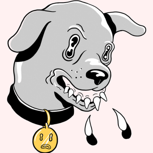 A cartoon dog head is on a light pink background. The dos is snarling at something and baring its teeth.