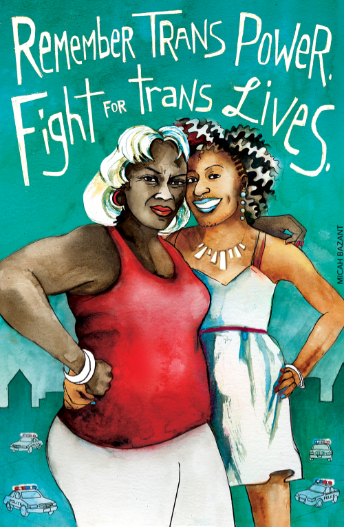 """an illustration of two Black trans femmes against a green background has white writing that reads, """"Remember trans power, fight for trans lives."""""""