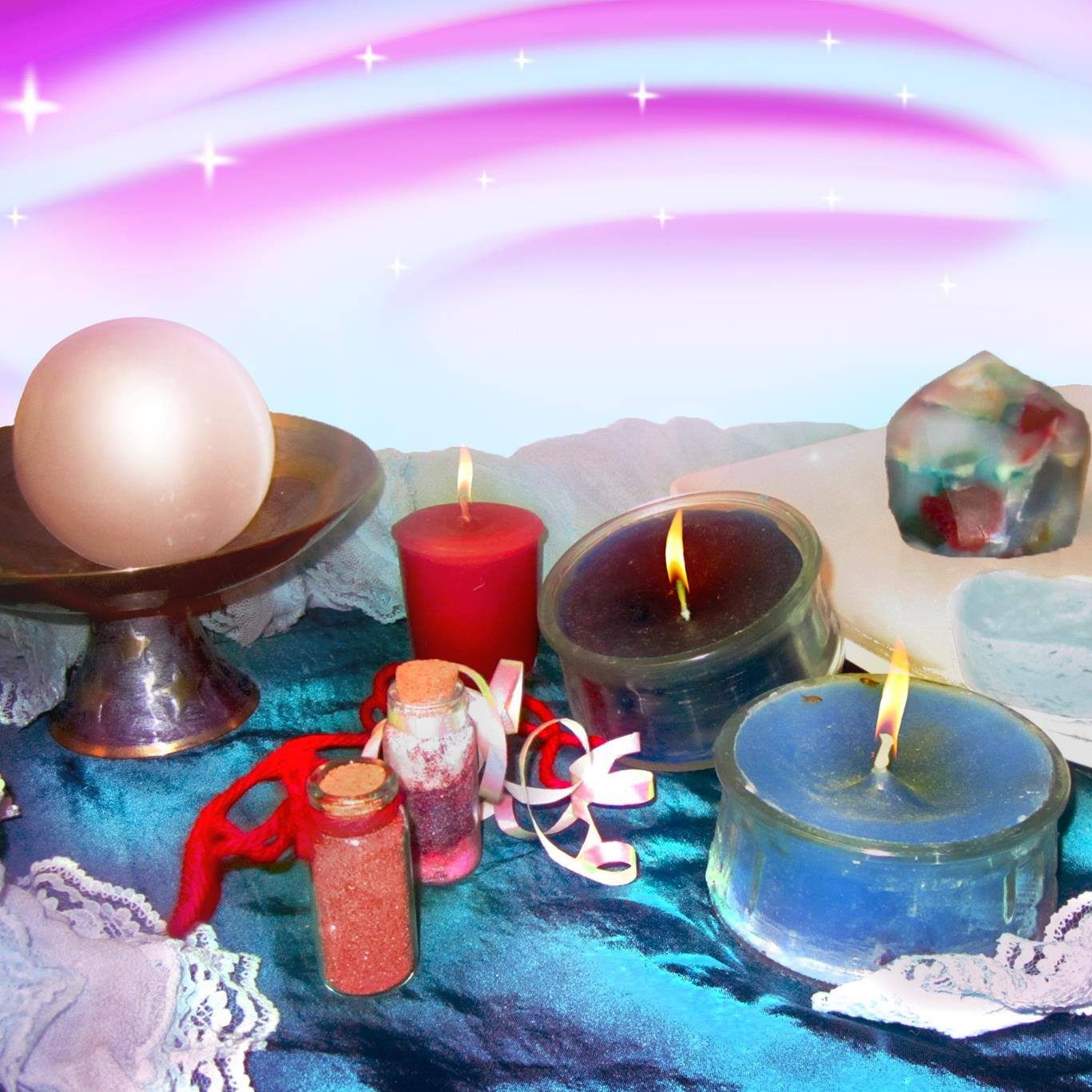 The image shuws a large pearl on a standx beside three tealights. one red, one black and the other blue. There are mini bottles filled with various colours of sand, and a galaxy rock in the back. The colours and shapes throughout the image are psychedelic..